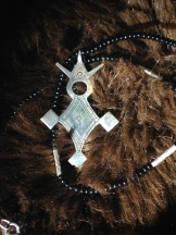 Traditional Agadez cross on beaded necklace with silver accents. $30